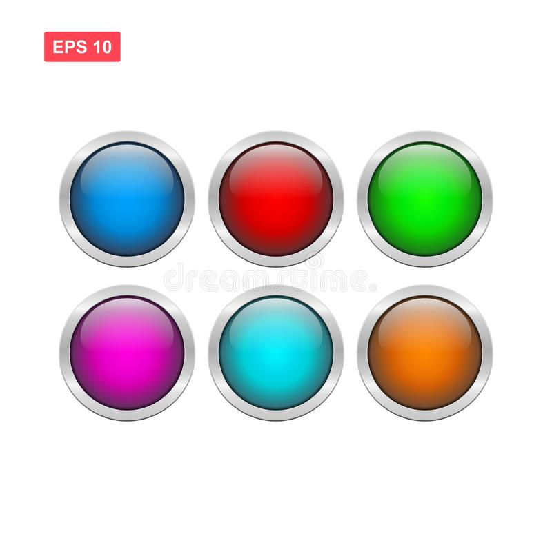 Vecteur brillant de bouton de blanc d'isolement illustration stock