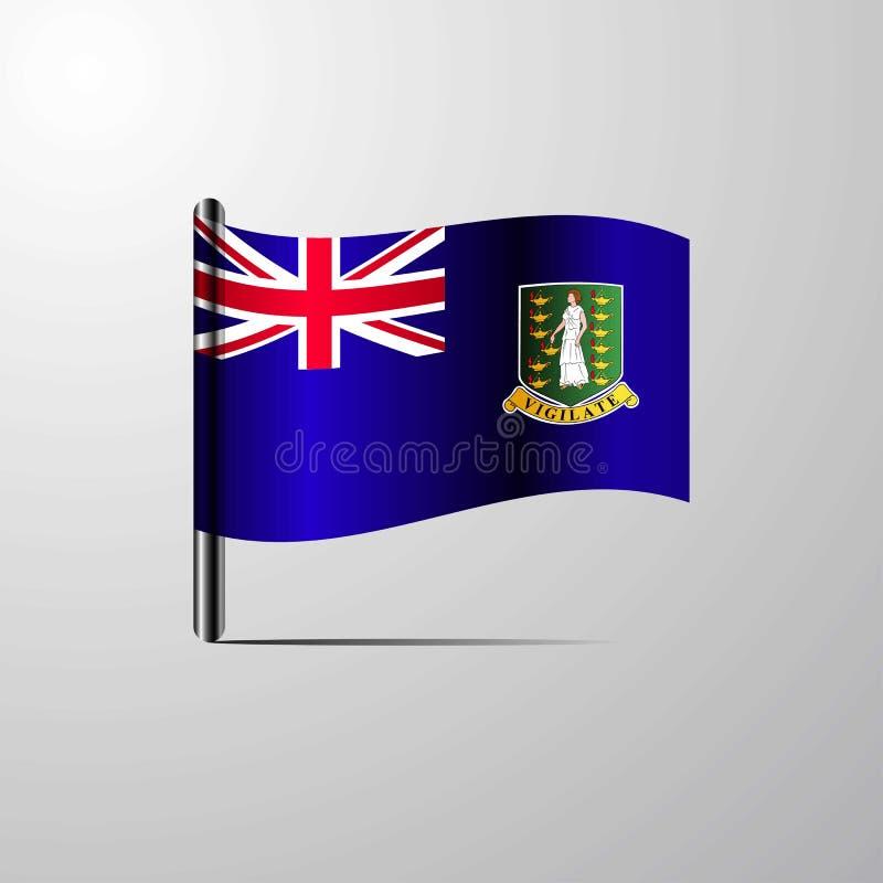 Vecteur brillant de ondulation BRITANNIQUE de conception de drapeau des Îles Vierges illustration stock