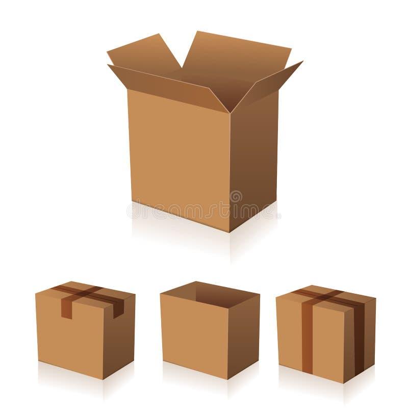 Vecteur brun de papier d'emballage de boîte illustration libre de droits