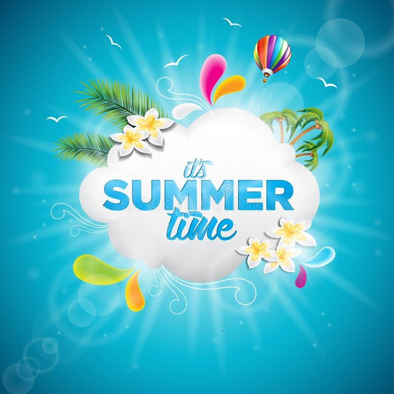 Vecteur c'est illustration typographique de vacances d'heure d'été avec les plantes tropicales, la fleur et le ballon à air chaud illustration libre de droits