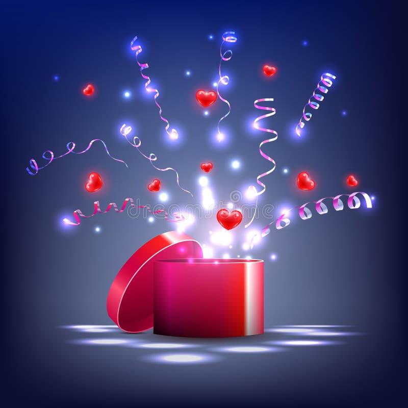 Vecteur, caisson lumineux et coeurs rouges, flammes, cadeau pour les vacances illustration de vecteur