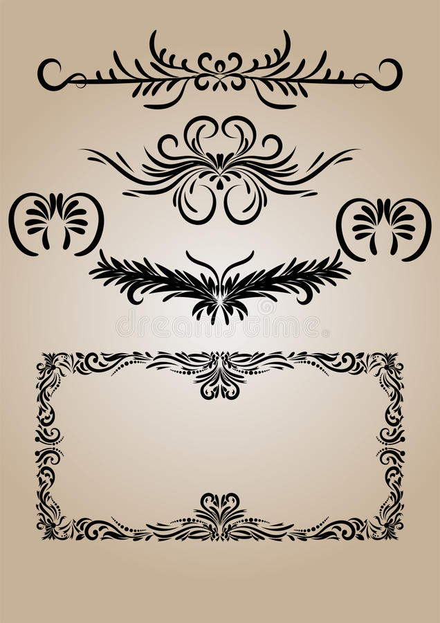 Vecteur calligraphique de flourishes d'éléments de décorations de vintage illustration de vecteur