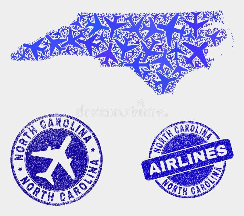Vecteur Carolina State Map du nord de mosaïque d'avions et joints grunges illustration de vecteur