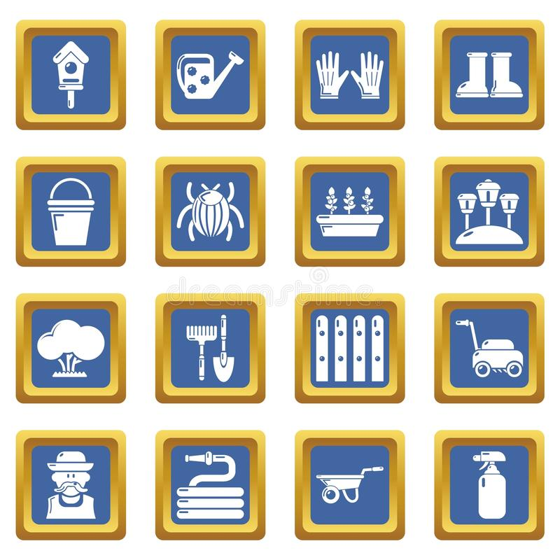 Vecteur carré bleu réglé par icônes de jardinier illustration libre de droits