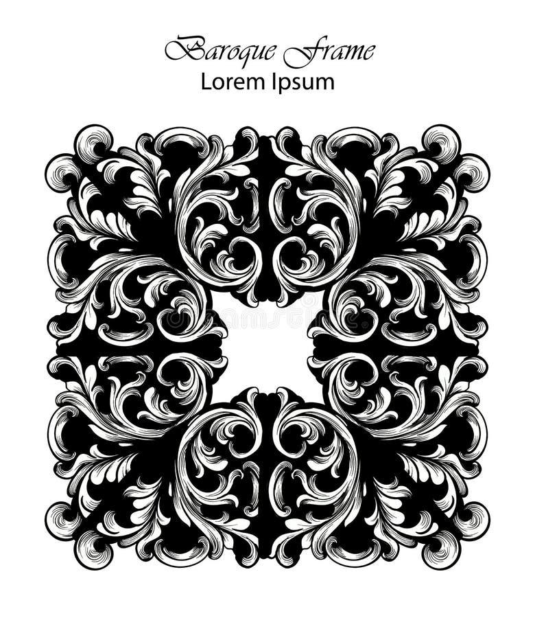 Vecteur carré de cadre Les riches classiques ont ornementé les décors découpés Conceptions sophistiquées baroques illustration stock