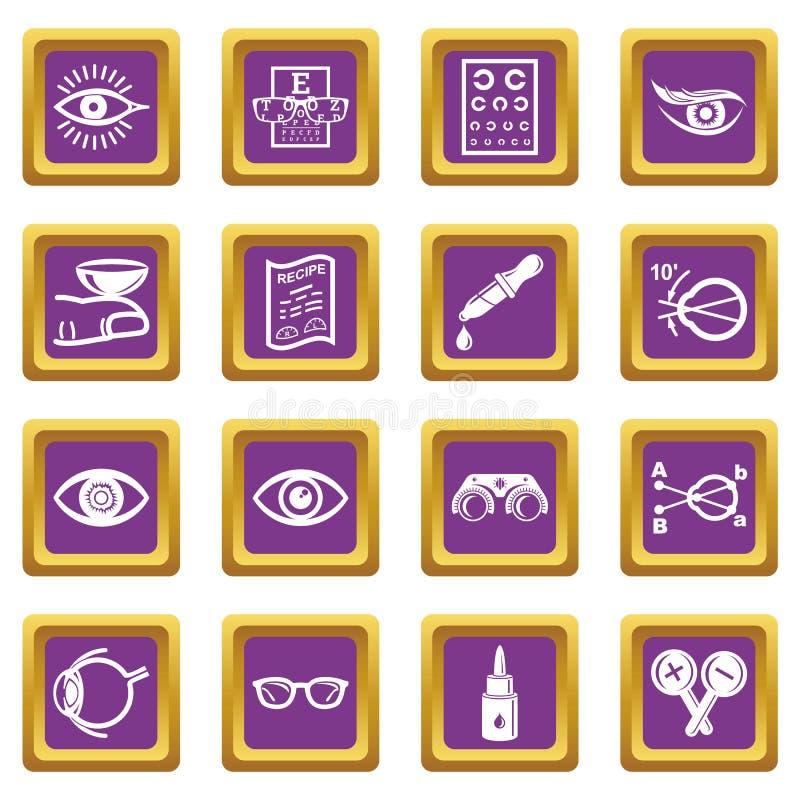 Vecteur carré pourpre réglé par icônes d'ophtalmologue illustration libre de droits