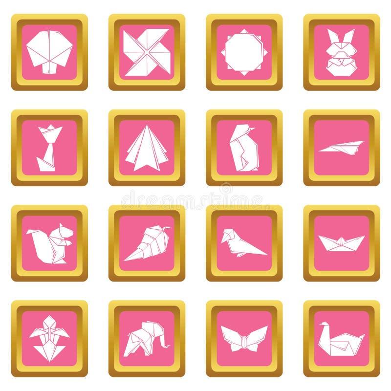 Vecteur carré rose réglé par icônes d'origami illustration stock