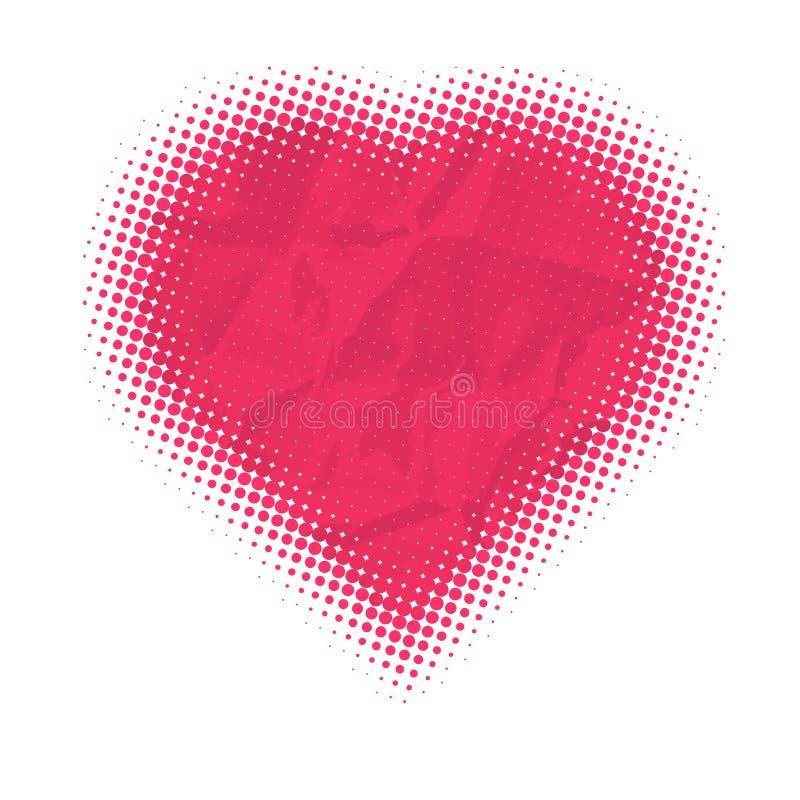 Vecteur : Carte de jour de Valentines, points tramés illustration stock