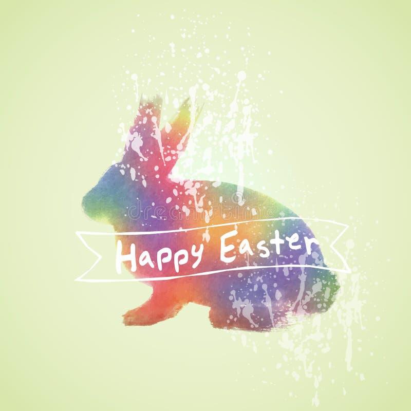 Vecteur : Carte de Pâques avec la peinture d'aquarelle de lapin illustration stock