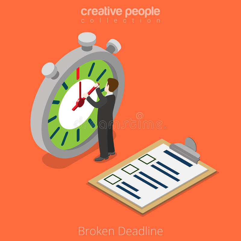 Vecteur cassé isométrique plat d'affaires de la date-butoir 3d illustration libre de droits