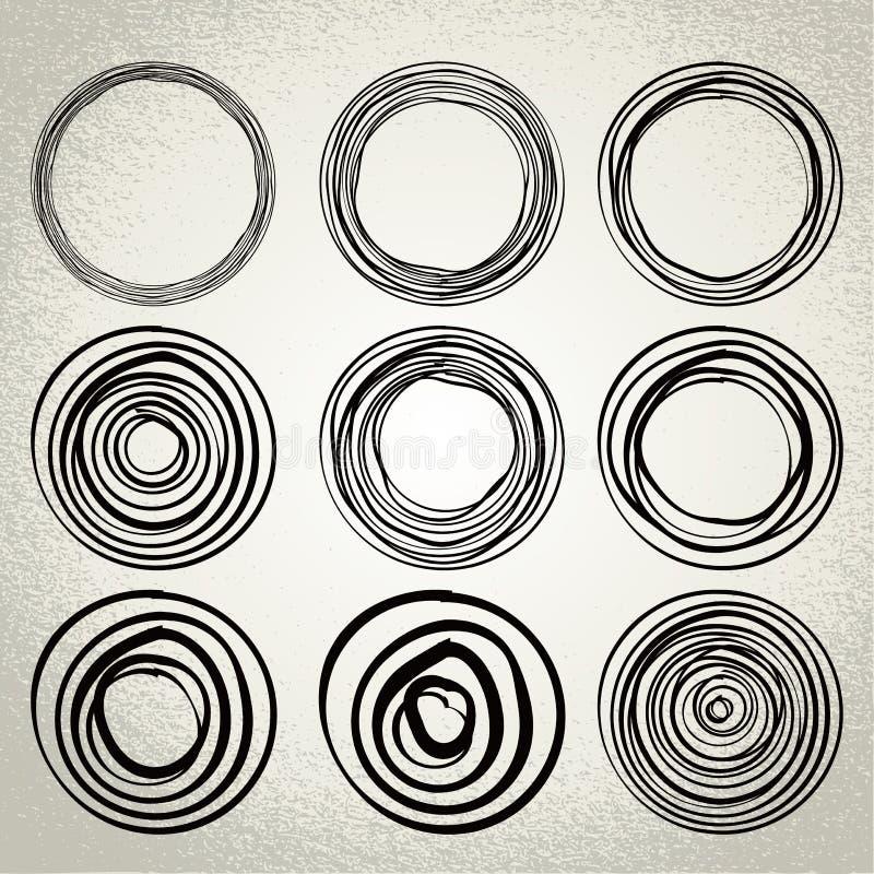 Vecteur : cercles tirés par la main, éléments de conception illustration stock