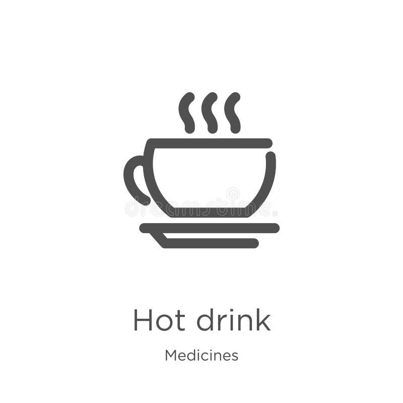 vecteur chaud d'icône de boissons de collection de médecines Ligne mince illustration chaude de vecteur d'ic?ne d'ensemble de boi illustration de vecteur