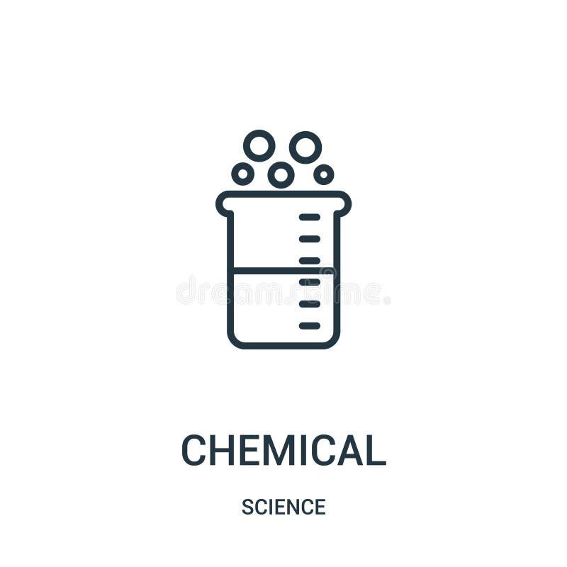 vecteur chimique d'ic?ne de collection de la science Ligne mince illustration chimique de vecteur d'ic?ne d'ensemble Symbole lin? illustration de vecteur