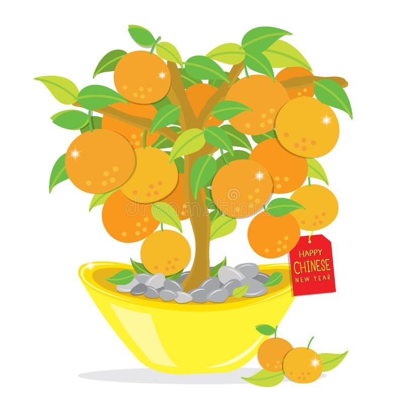 Vecteur chinois heureux de bande dessinée de nouvelle année d'arbre orange illustration libre de droits