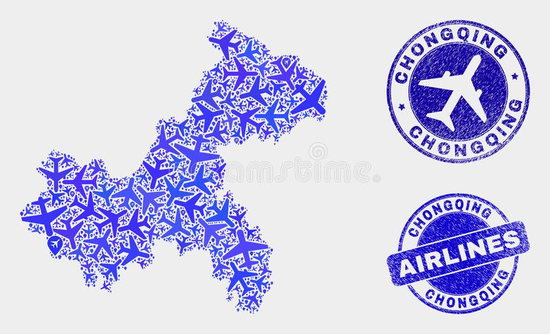 Vecteur Chongqing City Map de composition en avions et joints grunges illustration libre de droits