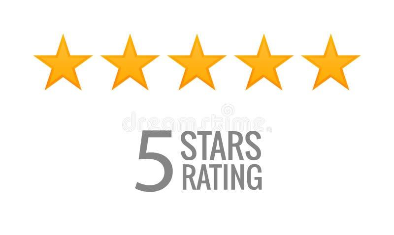 vecteur cinq étoiles d'icône d'estimation Le vote de taux aiment ranger le symbole illustration stock