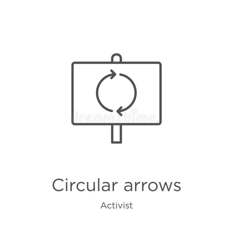 vecteur circulaire d'icône de flèches de collection d'activiste Ligne mince illustration circulaire de vecteur d'icône d'ensemble illustration de vecteur