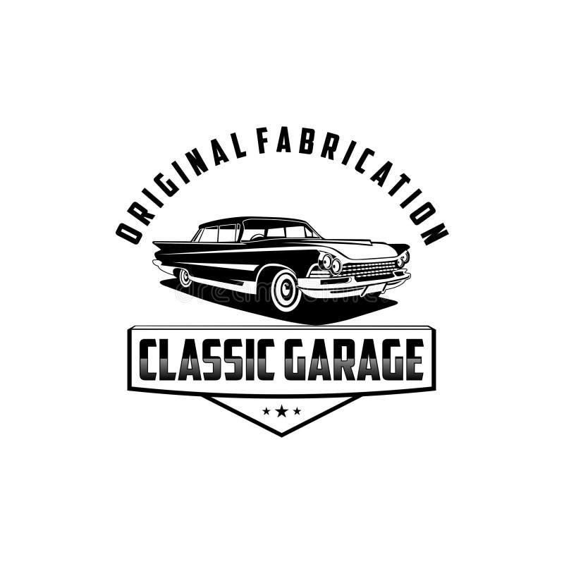 Vecteur classique de logo de garage de fabrication originale illustration stock