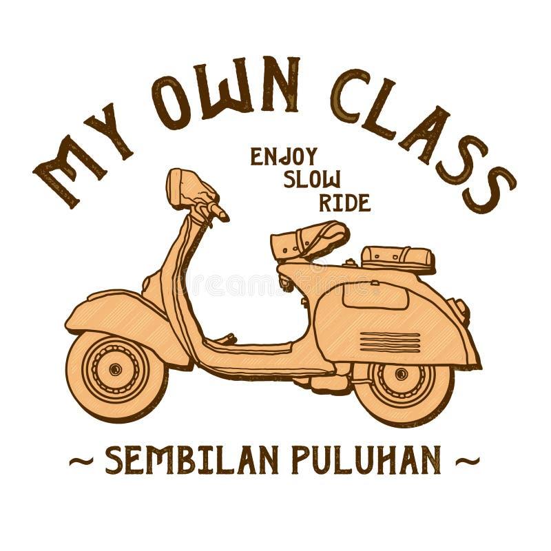 Vecteur classique de scooter de ma propre classe illustration libre de droits