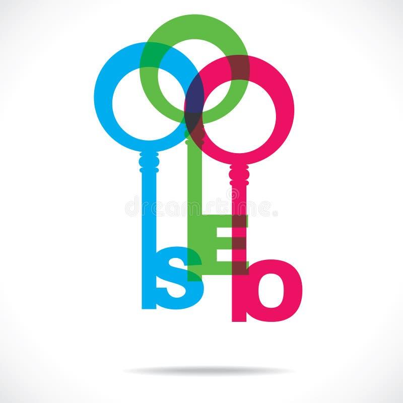 Clé colorée de mot de SEO illustration stock