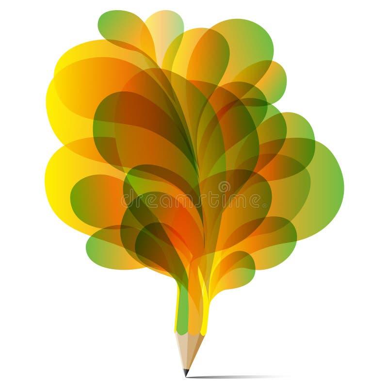 Vecteur coloré d'illustration de ballon de crayon de texture de concept réglé de vert de bulle d'art, jaune et orange illustration stock