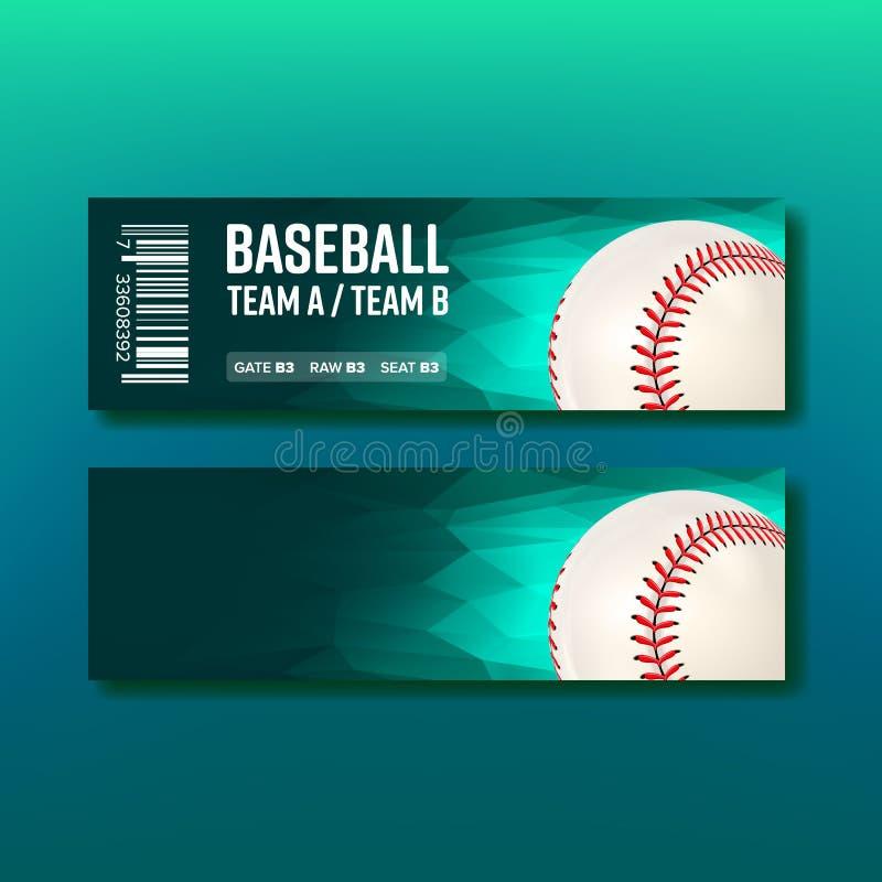 Vecteur coloré de calibre de base-ball de visite de billet illustration stock