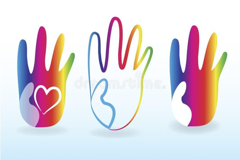 Vecteur coloré de logo de mains d'enfants illustration stock