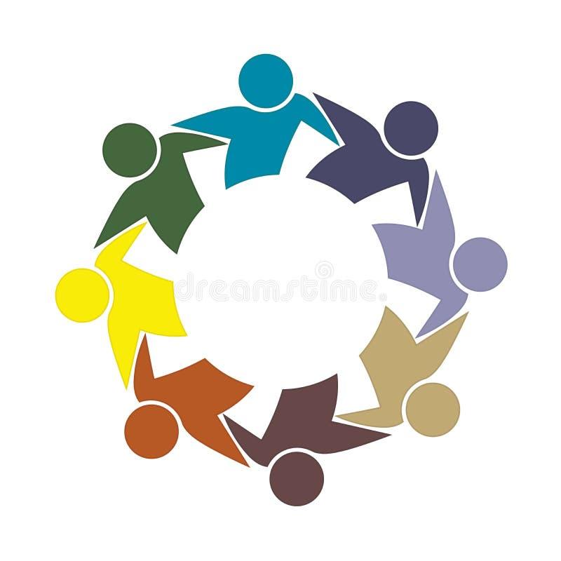 Vecteur coloré de logotype d'icône de personnes d'affaires d'unité d'amitié d'étreinte de travail d'équipe de logo illustration stock