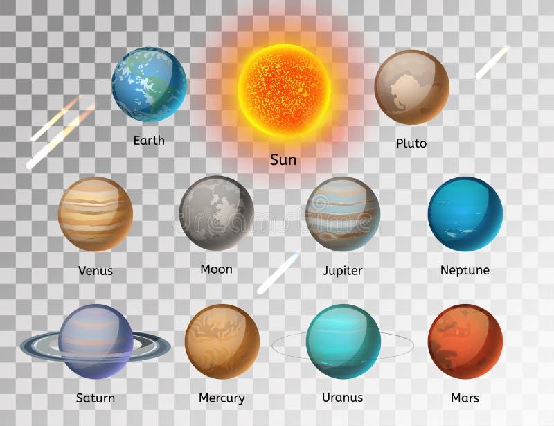 Vecteur coloré de planètes réglé sur le fond blanc illustration libre de droits