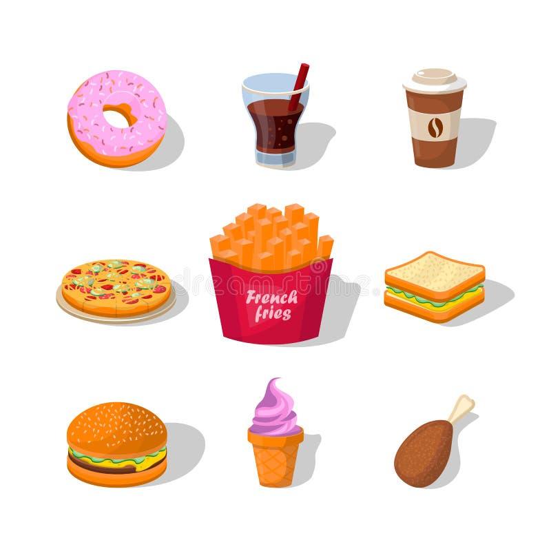 Vecteur coloré plat d'illustrations d'aliments de préparation rapide d'isolement sur le fond blanc illustration de vecteur