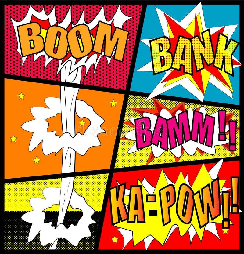 Vecteur comique - bulle comique de la parole réglée avec le BOOM des textes côté BAMM Explosions de bande dessinée de vecteur de  illustration libre de droits