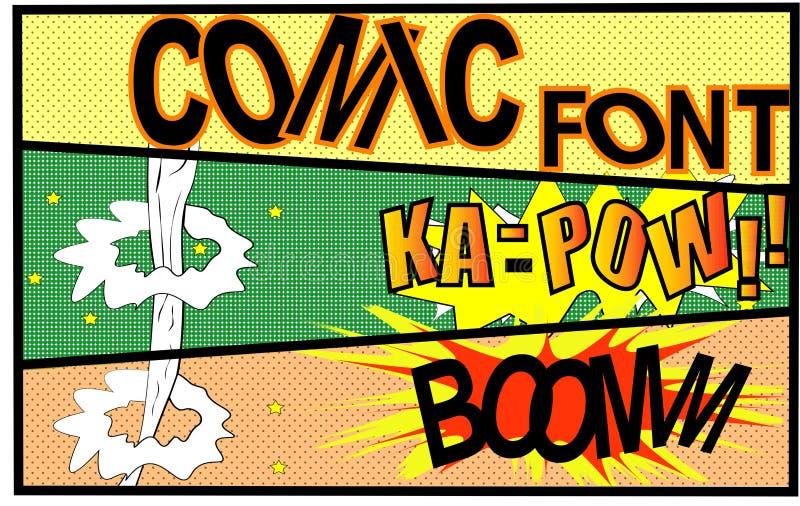 Vecteur comique - bulle comique de la parole réglée avec le BOOM des textes côté BAMM Explosions de bande dessinée de vecteur de  image stock