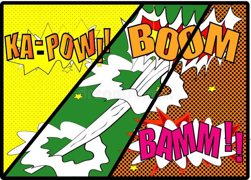 Vecteur comique - bulle comique de la parole réglée avec le BOOM des textes côté BAMM Explosions de bande dessinée de vecteur de  photos libres de droits
