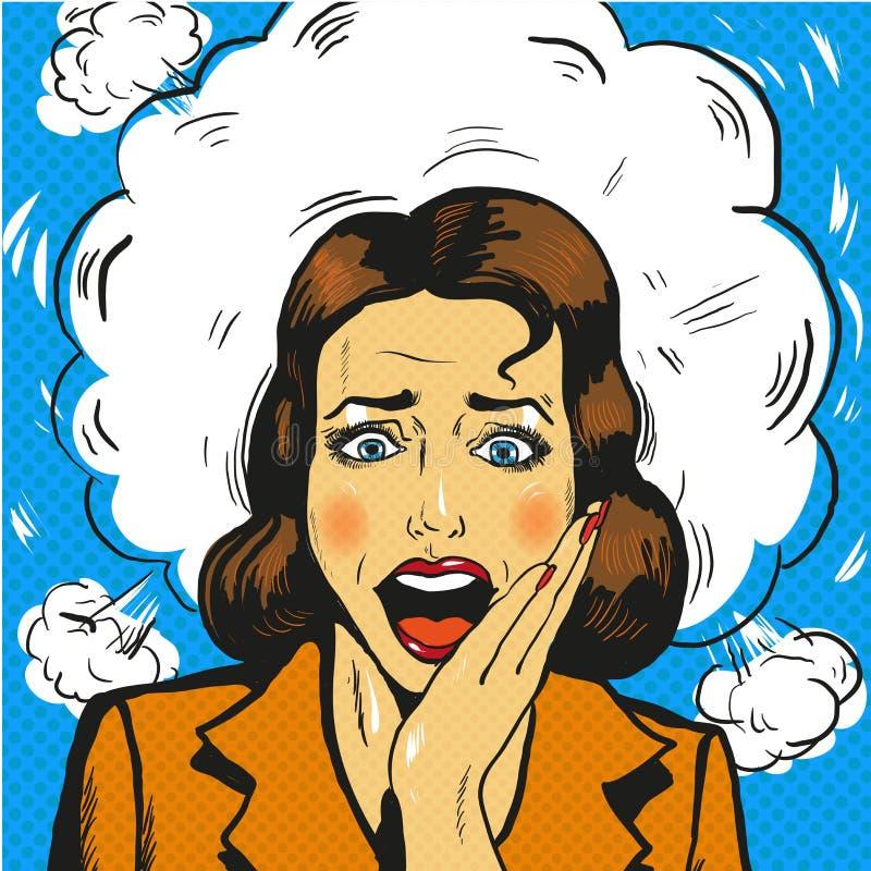 Vecteur comique de style de panique de femme d'art de bruit rétro illustration de vecteur