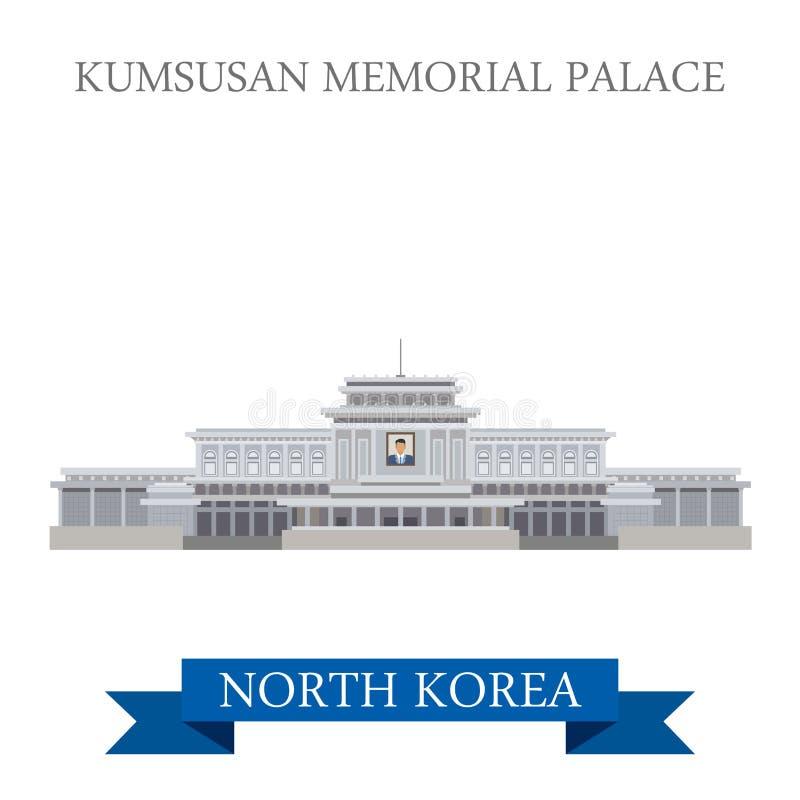 Vecteur commémoratif de Pyong Yang Corée du Nord de palais de Kumsusan plat illustration libre de droits