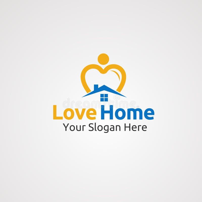 Vecteur, concept, icône, élément, et calibre de logo de maison d'amour pour la société illustration stock