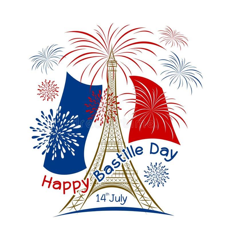 Vecteur conception de Paris de jour de bastille du 14 juillet avec le feu d'artifice illustration stock
