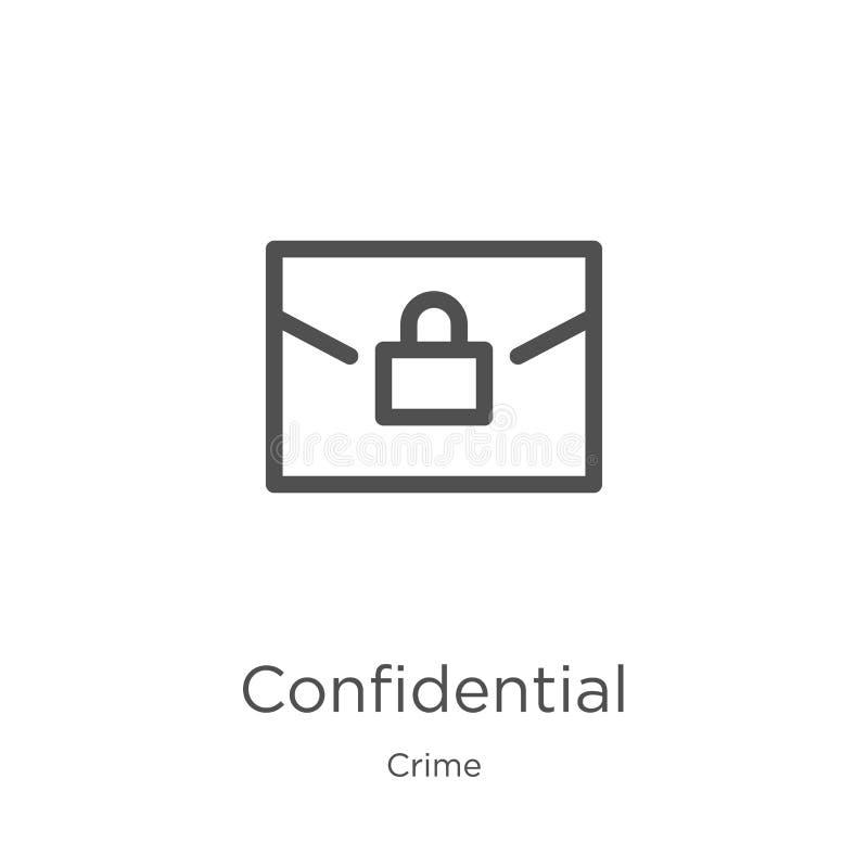 vecteur confidentiel d'icône de collection de crime Ligne mince illustration confidentielle de vecteur d'icône d'ensemble Contour illustration stock