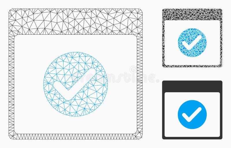 Vecteur CORRECT Mesh Wire Frame Model de jour civil et icône de mosaïque de triangle illustration stock
