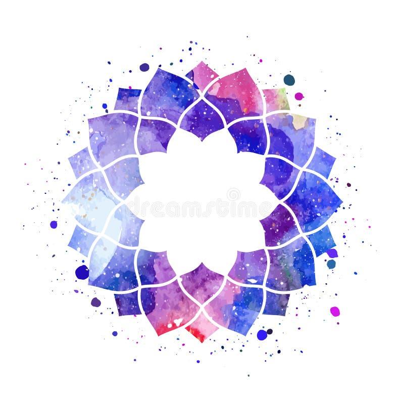 Vecteur cosmique géométrique de cadre d'aquarelle illustration libre de droits