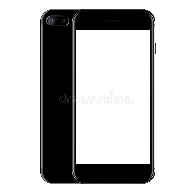 vecteur, couleur de noir de vue de côté avant et de téléphone de maquette sur le blanc illustration de vecteur