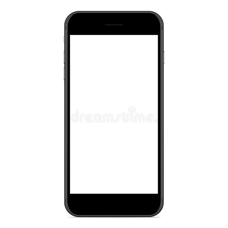 Vecteur, couleur noire mate de téléphone de maquette sur le fond blanc illustration libre de droits