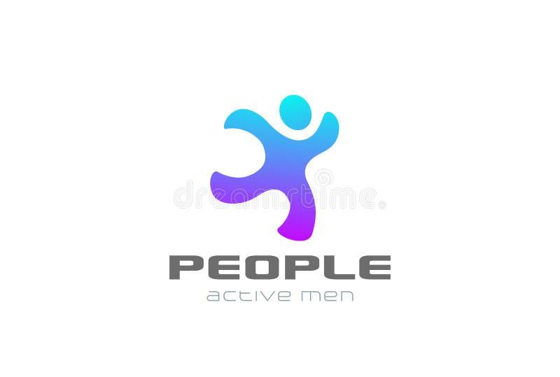 Vecteur courant de conception de sport de logo d'homme Ser de la livraison illustration libre de droits