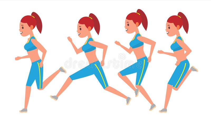 Vecteur courant femelle Cadres d'animation réglés Athlète Fitness Character de sport Coureur d'épreuve sur route de marathon Vue  illustration de vecteur