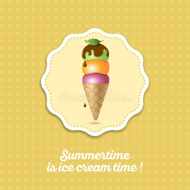 vecteur crème procurable de graphisme de glace Crème glacée de trois scoops sur le cône avec du chocolat illustration stock