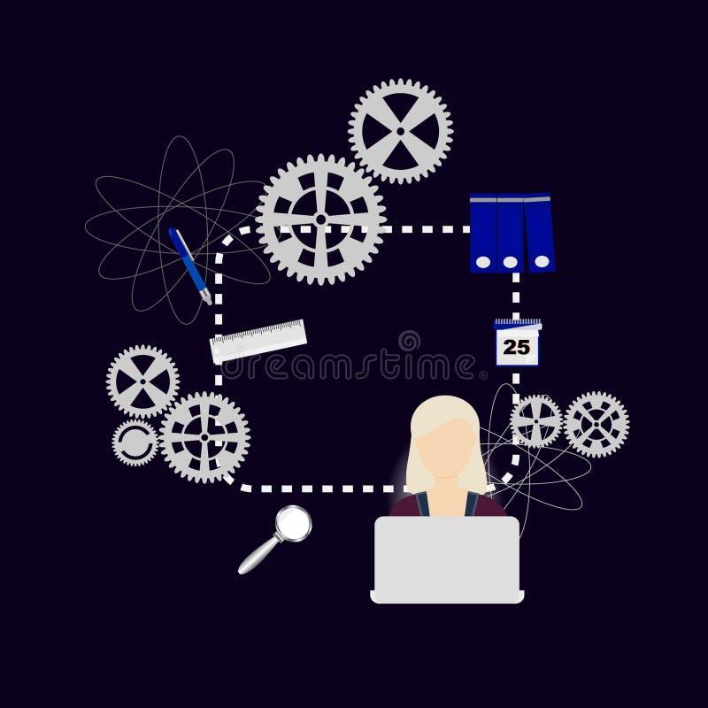 Vecteur créatif à la maison, fille étudiant à l'ordinateur illustration de vecteur