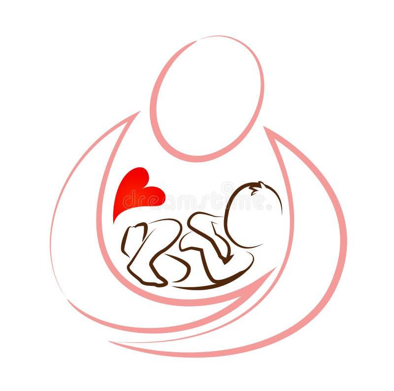 Vecteur créatif de concept de construction d'icône de bébé de mère illustration libre de droits