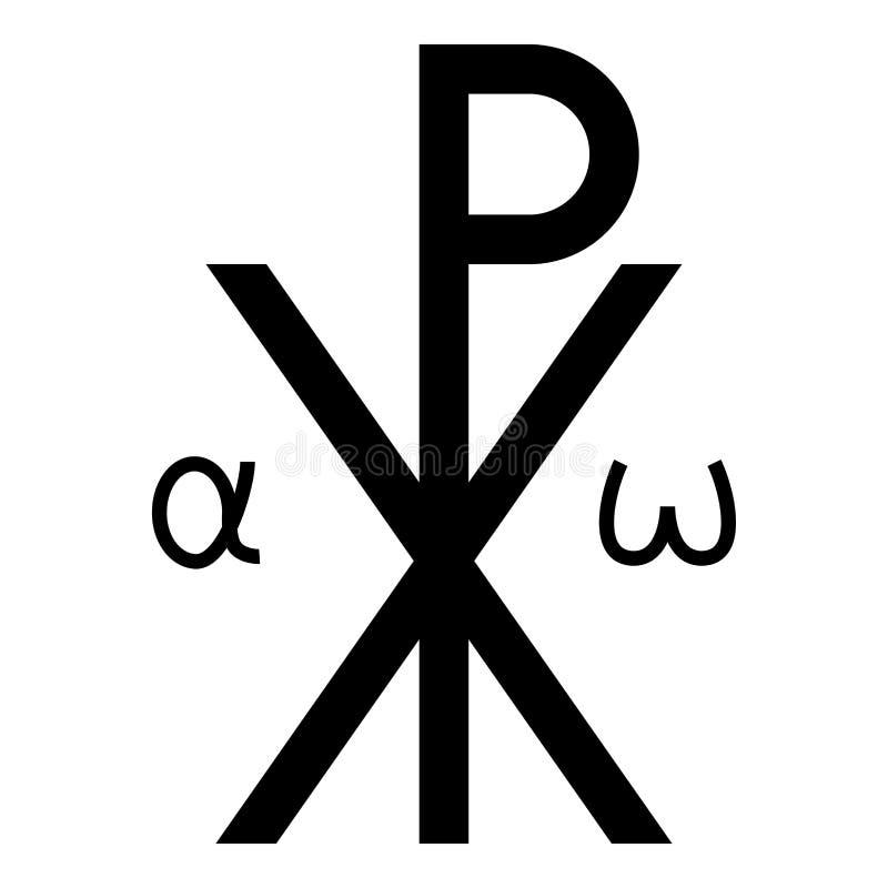 Vecteur croisé religieux de couleur de noir d'icône d'Omega d'alpha du monogramme XI de symbole de Crismon salut de signe croisé  illustration stock