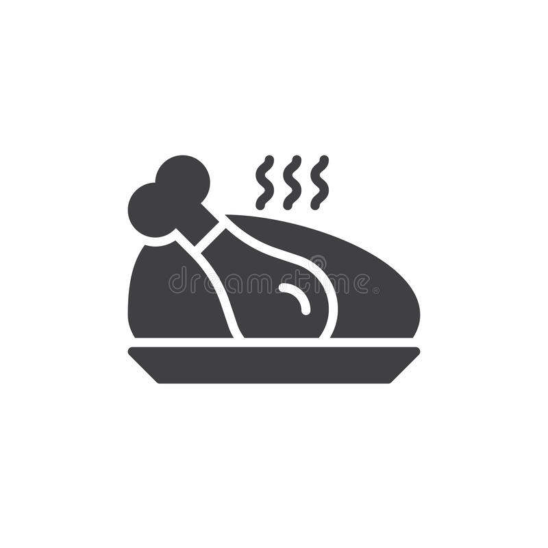 Vecteur cuit d'icône de poulet, signe plat rempli illustration de vecteur