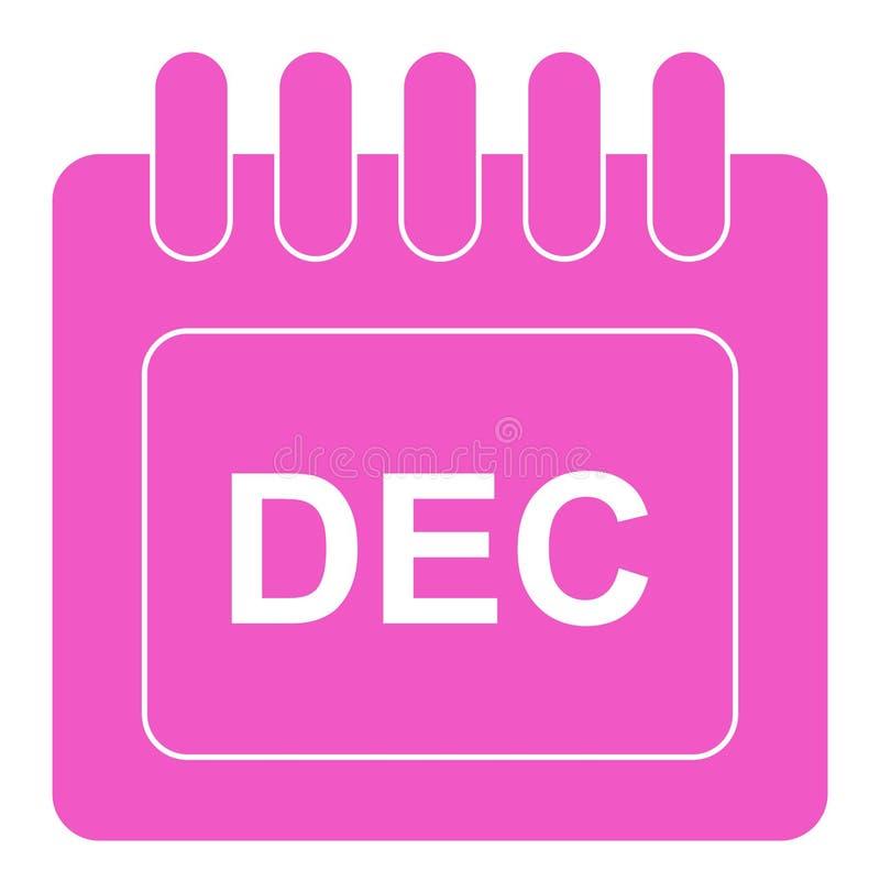 Vecteur décembre sur l'icône mensuelle de rose de calendrier illustration stock